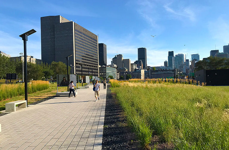 Ville Marie highway linear park solaire lighting